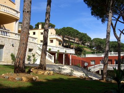 Begur house rental - Panoramic view; in the centre, the house