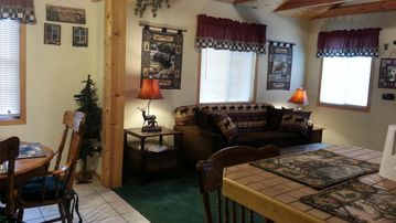 Moonridge cabin rental - Living Room / Dining Area View from Kitchen!