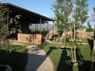 Taos house photo - Lush Entry Garden with Aspens and lots of Grass