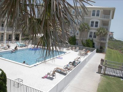 View of beach front pool from balcony.