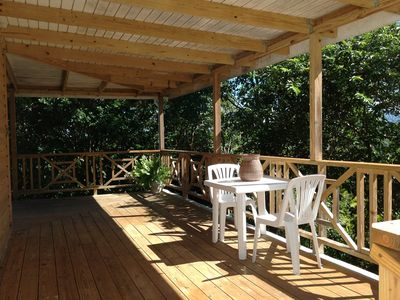 Garden deck with citrus trees.