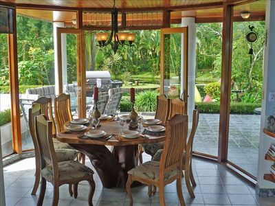 Dining Area for 8 w/ Garden- Pond views. Patio w/ Huge BBQ and Exquisite Nature