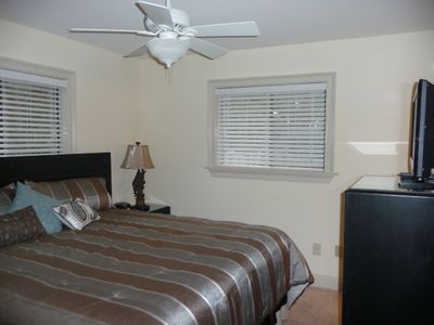 Folly Field villa rental - Entering the Master Bedroom with King Bed, Two Nightstands & TV/DVD