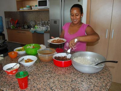 Juan Dolio condo rental - Karina making Dominican food!