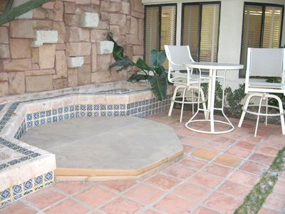 Private Courtyard with In-ground Spa Hot Tub and Babbling Brook