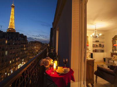 Enjoy your private Paris apartment balcony with dazzling Eiffel Tower view!