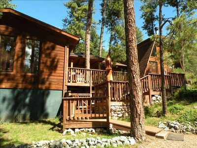 Ruidoso lodge rental - Cedar Creek Lodge - Huge Deck with Hot Tub