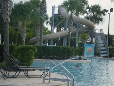 water slide at pool