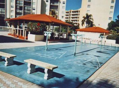 Shuffle Board Court/Leisure House with Fans, Lights, Tables & Chairs