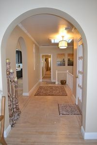 Foyer with skylight in newly remodeled flat.