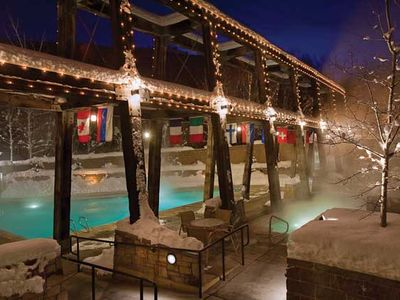 The resort pool, indoor pool, and hot tub offer year-round enjoyment.