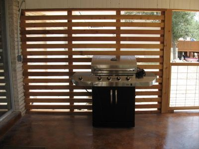 Gas Grill on back patio for great cookouts.