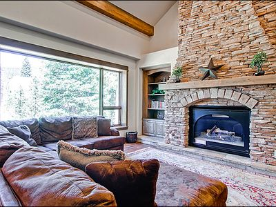 Living Area with Plenty of Seating & Gas Fireplace
