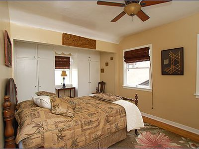 The Palm room features vintage furnishings and built-ins, and a full sized bed.