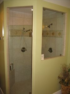 Newly renovated master bathroom features a walk-in couples shower