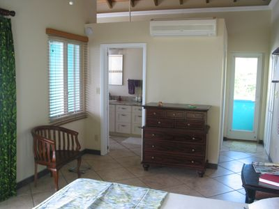 The master suite is air conditioned with a private entrance