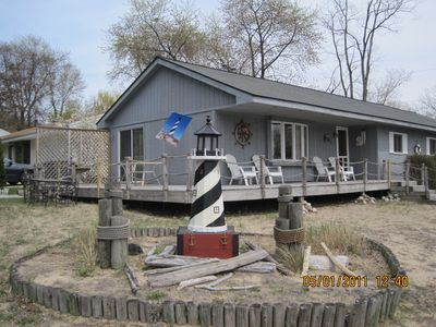 Michigan City house rental - side view outside eating deck