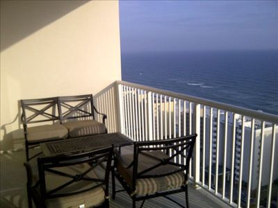 Relax on this 20th floor balcony and watch the sun rise and set over the water!