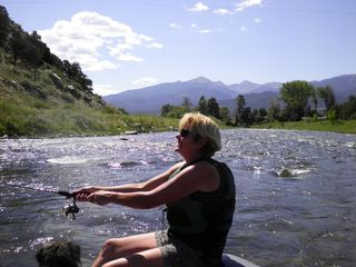 The smile says it all, relax and enjoy being on the Arkansas River - Salida condo vacation rental photo