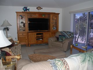 Key Colony Beach house photo - Living Room, New Tommy Bahama Entertainment Center