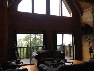 Sevierville chalet photo - looking from the living room outside to one of the decks