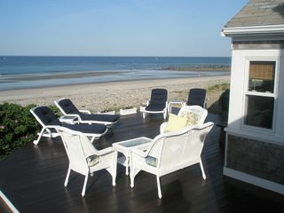 Marshfield cottage photo - Front Deck, beautiful views, steps to beach