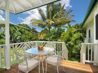 Ahe Lani Spacious Covered Lanai has an Outdoor Dining Table and Chairs