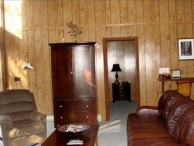 Beech Mountain chalet rental - Upstairs great room, doors leading to deck, flooring & walls are now updated
