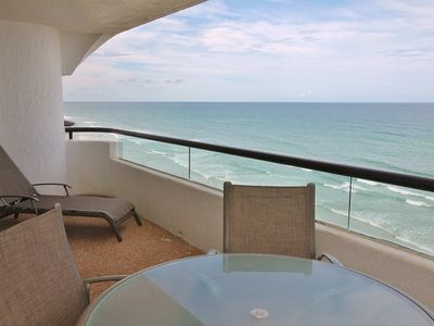 Comfortable Patio Furniture on Oceanfront Balcony