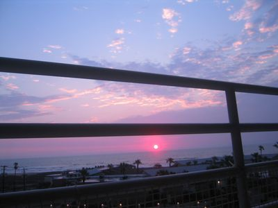 Sunset over the Laguna Madre Bay as seen from the balcony outside each bedroom.