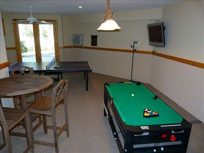 Game Room with ping pong, darts, card playing area, Flat Screen T
