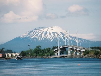 View of Mt Edgecumbe and bridge to airport from town.
