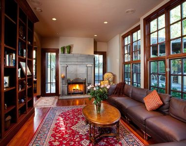 Library with Wood Burning Fire Place