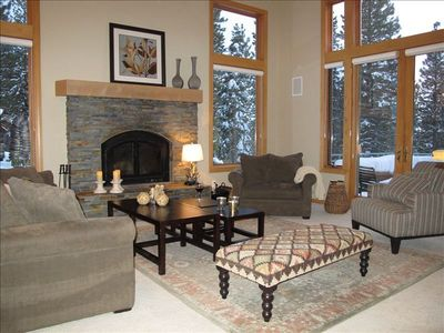 Living room with a gorgeous fire place!