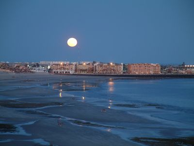 A beautiful moonrise over Old Port