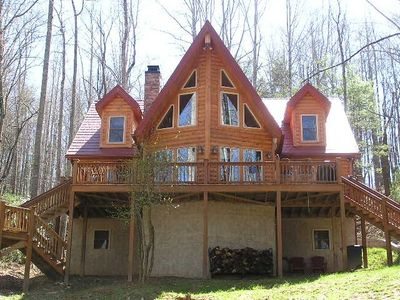 Boone cabin rental - Rear View - Facing the Lake