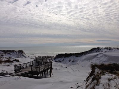 View of the gorgeous white sand dunes and the meandering boardwalk to the beach!