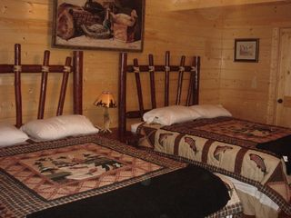 Ellijay cabin photo - 'Wood Duck' Main Bedroom with 2 Queen log beds.
