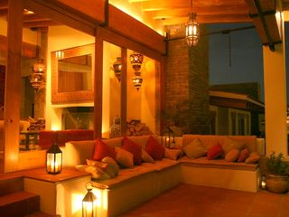 Valle de Bravo villa photo - Outdoor terrace at night with Moroccan lanterns