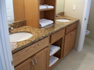 lower bath off bedroom Granite tops /double sinks