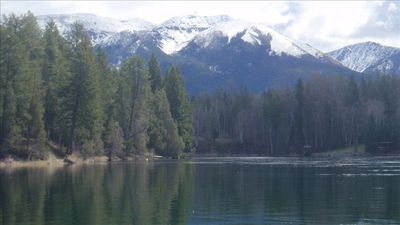 A tranquil view of mountains & river, looking east, from boat dock on site