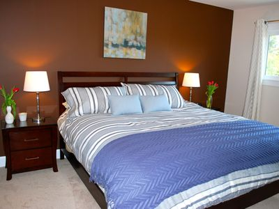 Saanich house rental - Our Master Bedroom has a King Sized Bed and TV for your comfort.