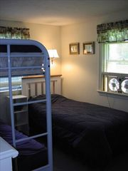 East Sandwich house photo - Bedroom with a twin, a lower full size bed (bottom bunk)