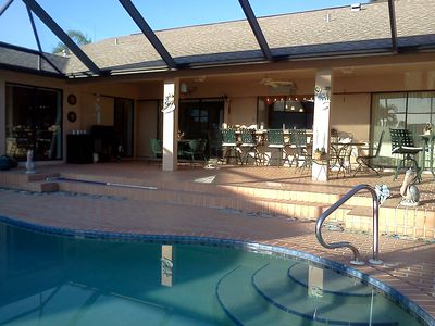 The screened in lanai and heated pool