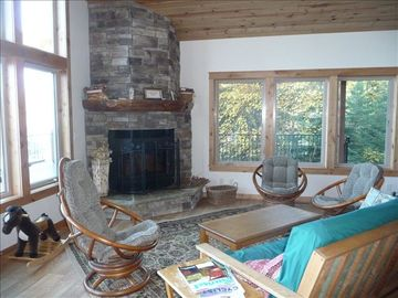great room with wood fireplace