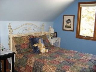 Old Forge chalet rental - Upstairs double bedroom with cable TV