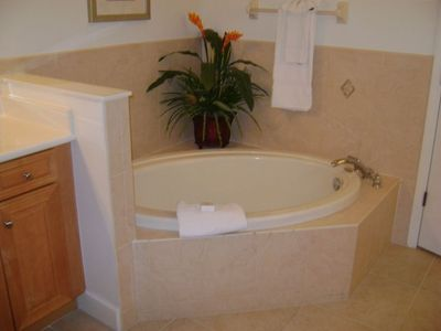 Oversized Master Bathroom Offers Both Walk-in Shower and Large Garden Tub.
