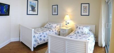 Anna Maria villa rental - Bedroom 4 with en suite bathroom and private deck with ocean view and HD TV