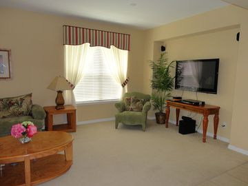 Large Flat screen TV, DVD player and surround sound