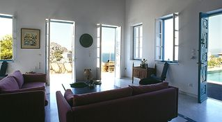 Hydra Island villa photo - Comfortable livingroom with beautiful views